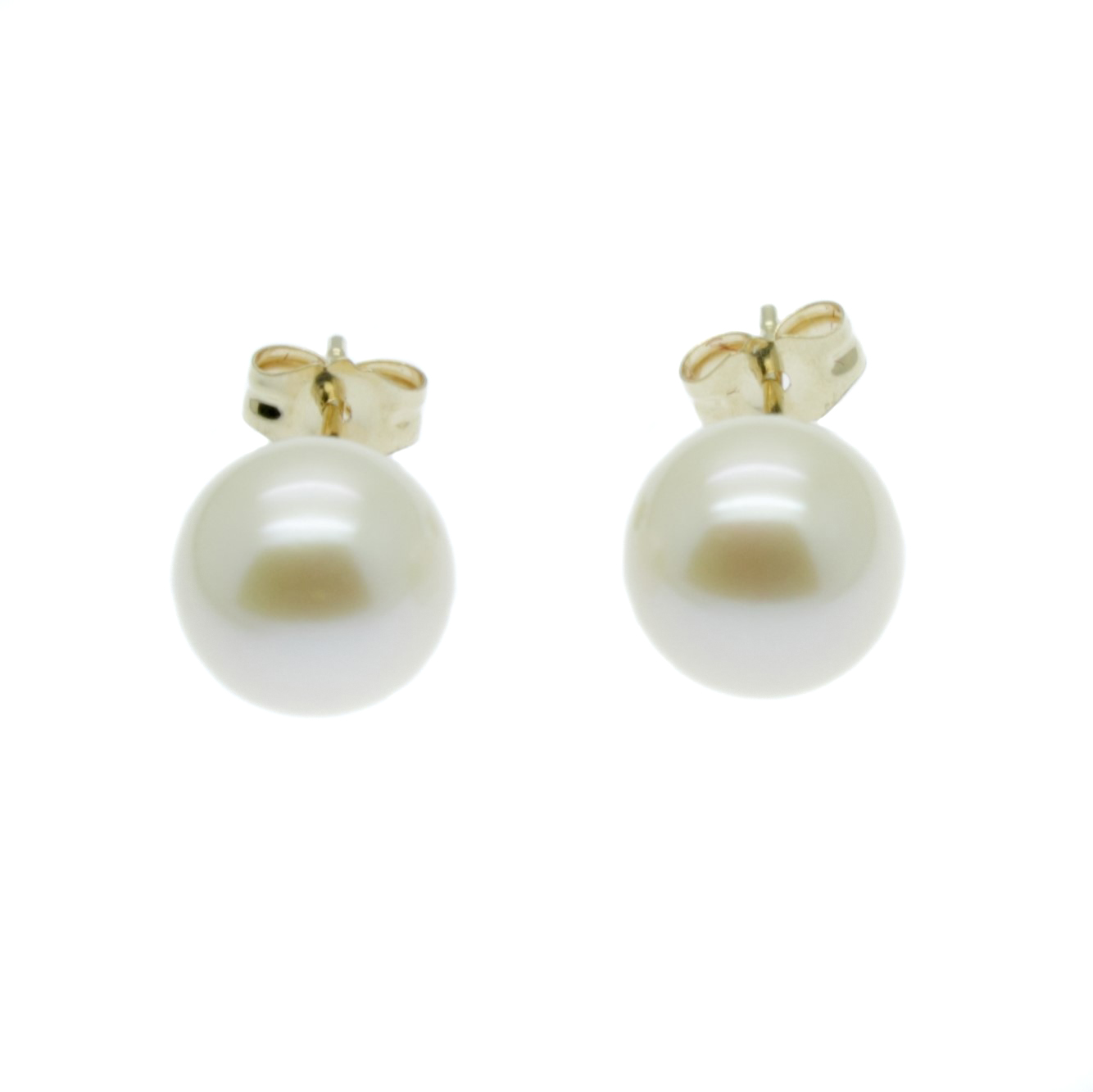 Pearl Earrings Aaa 8mm White Round Cultured Pearls On 9ct Gold Posts