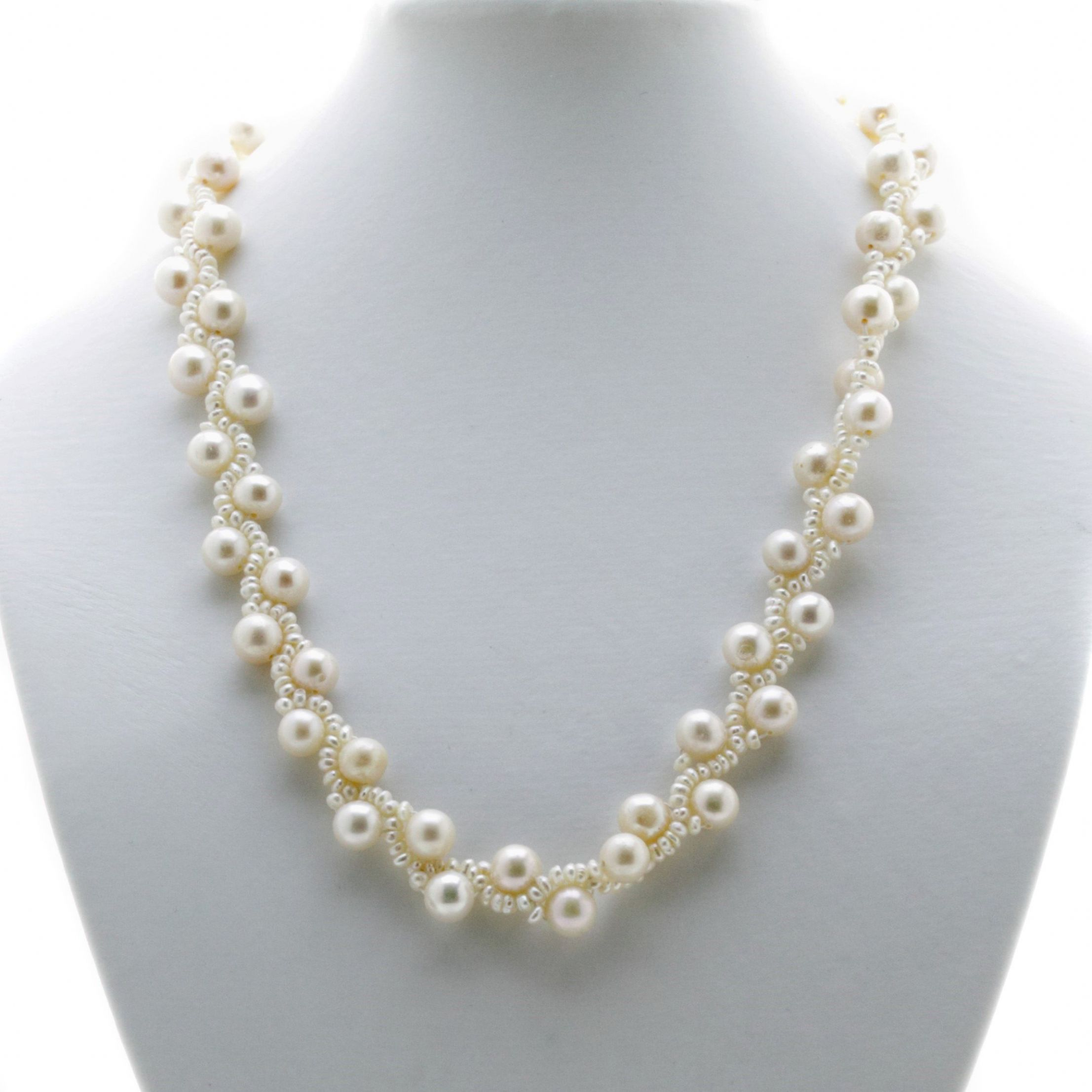 aa c freshwater three necklace pearl white necklaces pink row mm